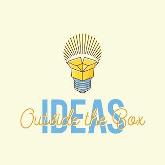 Ideeën buiten de doos abstract concept logo sjabloon.