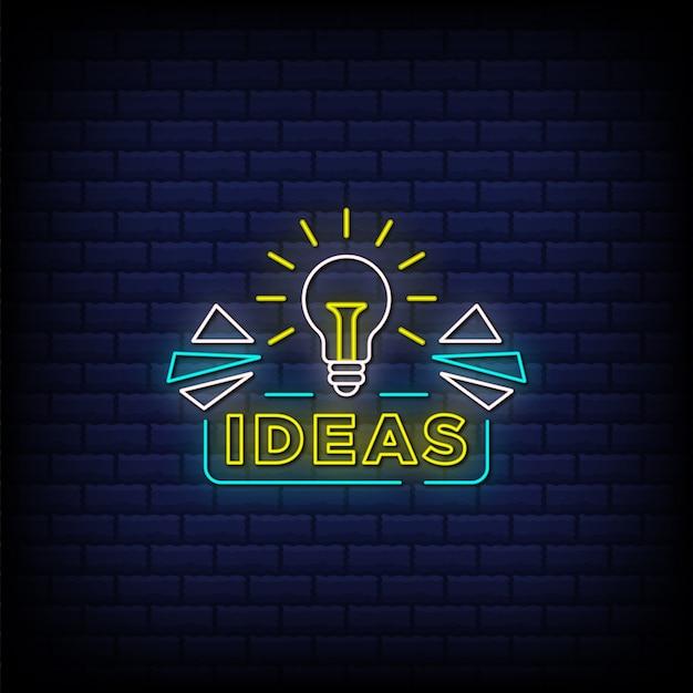 Ideeën neonreclamestijltekst met een gloeilamppictogram
