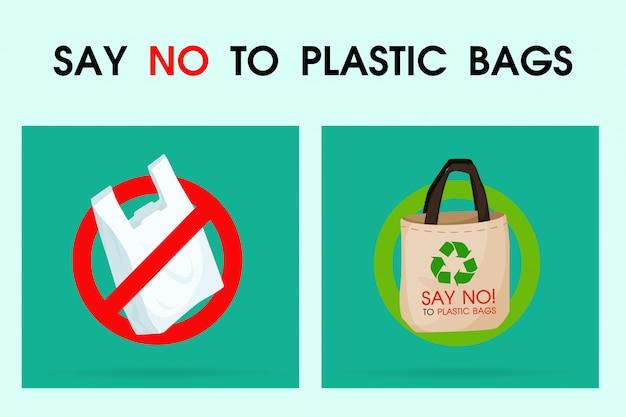 Ideeën om vervuiling te verminderen zeg nee tegen plastic zak.