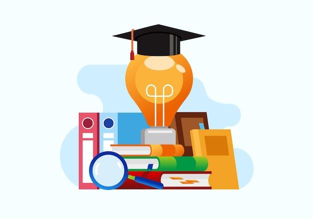 Ideeën vinden brainstormen onderwijsconcept boekverwijzing online bibliotheek platte vector