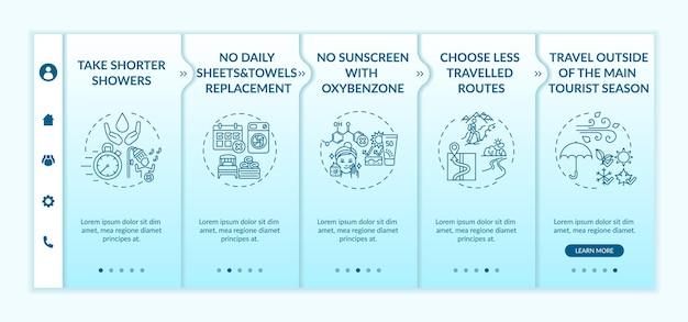 Ideeën voor duurzaam toerisme onboarding vector sjabloon. responsieve mobiele website met pictogrammen. webpagina walkthrough 5 stappen schermen. geen dagelijks kleurenconcept voor handdoekenvervanging met lineaire illustraties