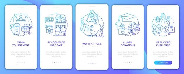 Ideeën voor financiële ondersteuning verzamelen op het paginascherm van de mobiele app. trivia nights doorloop 5 stappen grafische instructies met concepten. ui, ux, gui vectorsjabloon met lineaire kleurenillustraties