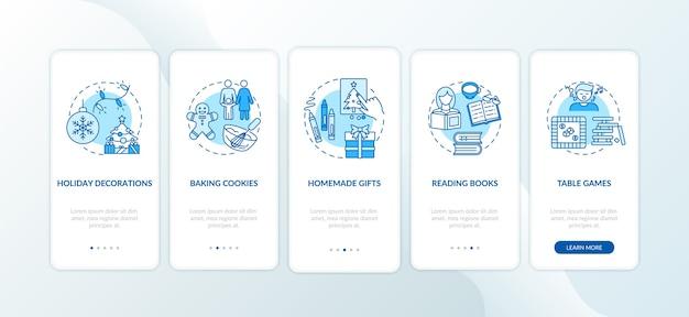 Ideeën voor kerstvakantie op het scherm van de mobiele app met concepten