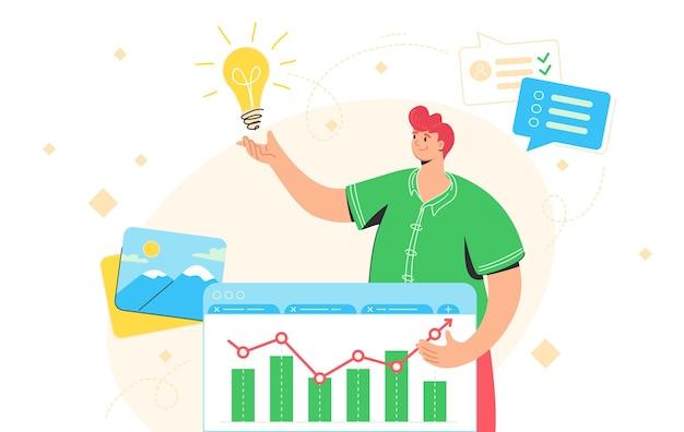 Ideegenerator voor succesvol zakendoen. platte vectorillustratie van een gelukkige man die in de buurt van een financiële grafiek staat en een idee krijgt om een zakelijk probleem op te lossen. roodharig personage voor planning en onderzoek
