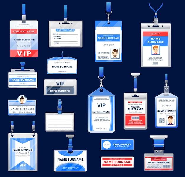 Identificatie id-badges en kaarten van houders met nekkoord en intrekbare haspelclips