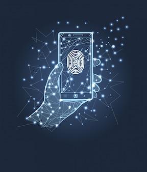 Identificatie mobiele telefoon met print