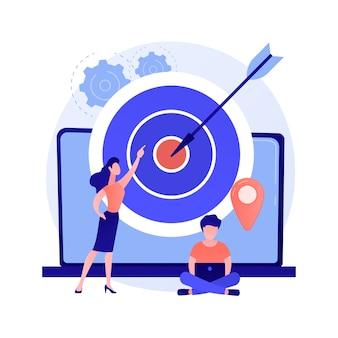 Identificatie van de doelgroep. merkconsumenten, loyale klantenanalyse, marketingonderzoek. smm-experts analyseren beoogde doelgroepen.