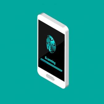 Identificatie van scans van een vingerafdruk in de mobiele telefoon. duimvingerafdruk of persoonlijke id, unieke biometrische identiteitssensor. biometrische scantechnologie.