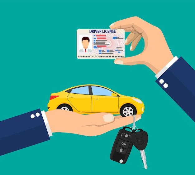 Identificatiekaart voor autorijbewijs in de hand