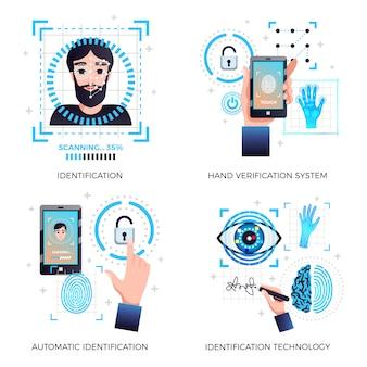 Identificatietechnologieën ingesteld met gezichtsherkenning hand automatische verificatie technologie systemen geïsoleerd