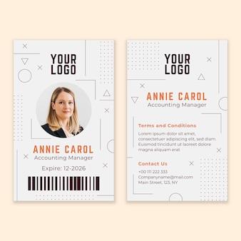 Identiteitskaart-kaarten abstract sjabloon met foto