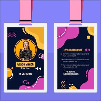 Identiteitskaart-sjabloon met abstracte vormen