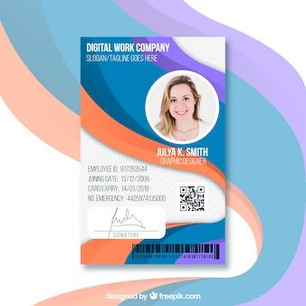 Identiteitskaart-sjabloon met plat ontwerp