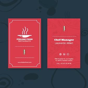 Identiteitskaart sjabloon voor italiaans eten restaurant werknemer
