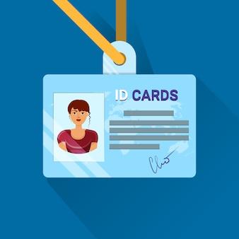 Identiteitskaartgebruiker of werknemersidentificatiebadge voor jonge casual vrouw