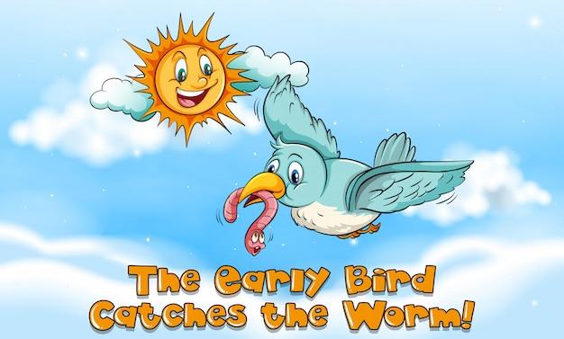 Idioom expressie voor vroege vogels vangt de worm