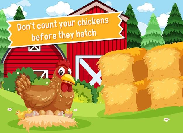 Idioom poster met tel je kippen niet voordat ze uitkomen