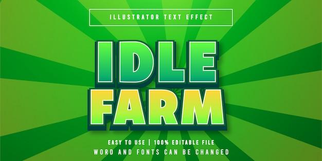 Idle farm, bewerkbare speltitel teksteffect grafische stijl