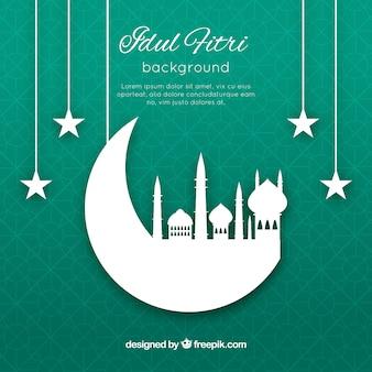 Idul friti achtergrond met moskee silhouet