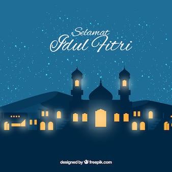 Idul friti achtergrond met moskee