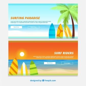 Idyllisch landschap banners met surfplanken
