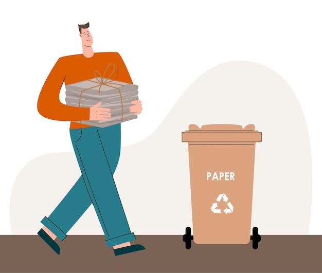 Iemand die om het milieu geeft, sorteert het afval en gooit afval in de prullenbak voor...