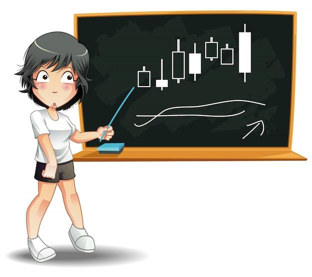 Iemand onderwijst financiën met bord op witte achtergrond.
