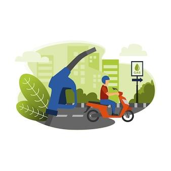 Iemand rijdt op een motorfiets naar het benzinestation