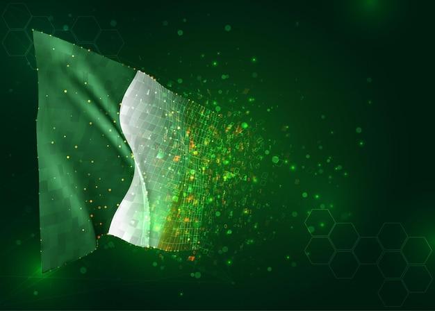 Ierland, 3d vlag op groene achtergrond met polygonengon