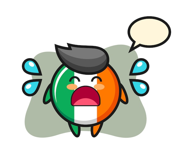Ierland vlag badge cartoon afbeelding met huilend gebaar