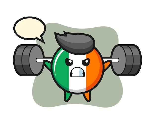 Ierland vlag badge mascotte cartoon met een barbell