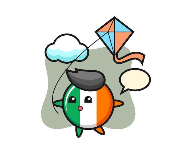 Ierland vlag badge mascotte illustratie speelt vlieger