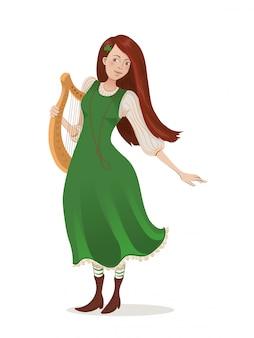 Iers meisje in een groene jurk