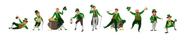 Ierse fantastische karakterkabouter in verschillende poses. saint patrick's day vector stripfiguren op witte achtergrond