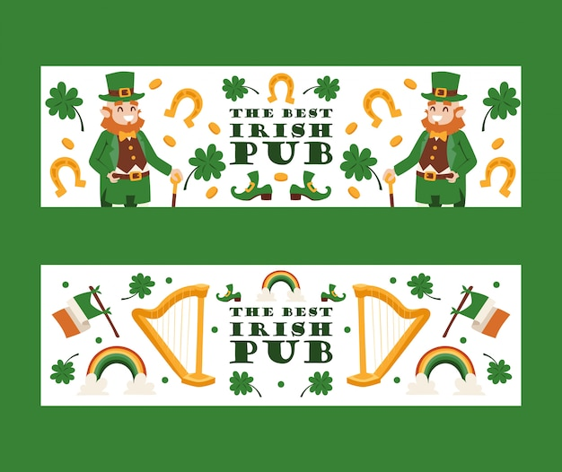 Ierse pub banners st patricks traditionele feestdag festival in ierland
