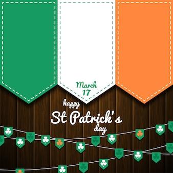 Ierse vlag op houten muur. st patricks dag achtergrond