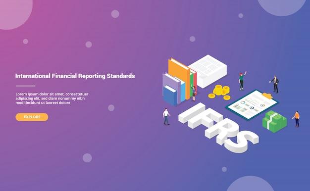 Ifrs-concept voor internationale financiële rapporteringsstandaarden voor de startpagina van de landingsjabloon voor websites