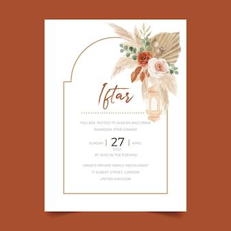 Iftar-dineruitnodigingssjabloon met boheemse bloemenstijl