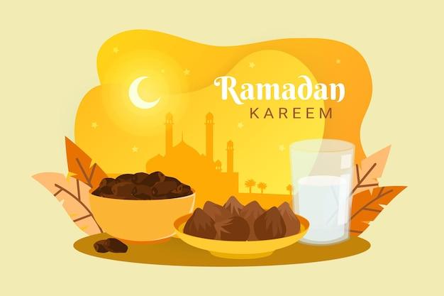 Iftar-feest met datums en melkillustratie