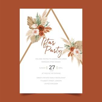 Iftar feestdiner uitnodigingssjabloon met prachtige boho bloemenboog