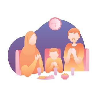 Iftar illustratie met moslim familie eet en bid samen aan de eettafel
