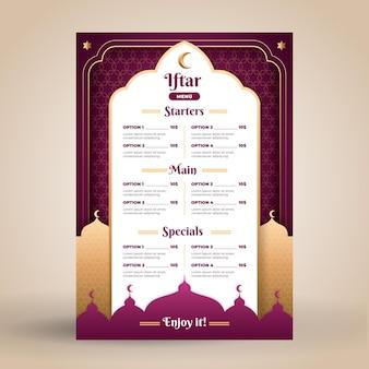Iftar menusjabloon in papieren stijl