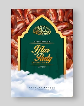 Iftar partij uitnodigingskaartsjabloon met realistische datums islamitische eid mubarak festival vakantie