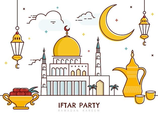 Iftar partijlijnstijlontwerp met moskee en dadelpalm
