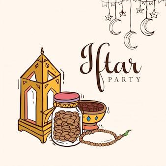 Iftar party doodle kunst