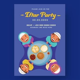 Iftar party flyer met moslimmensen die genieten van heerlijk eten op blauwe achtergrond.