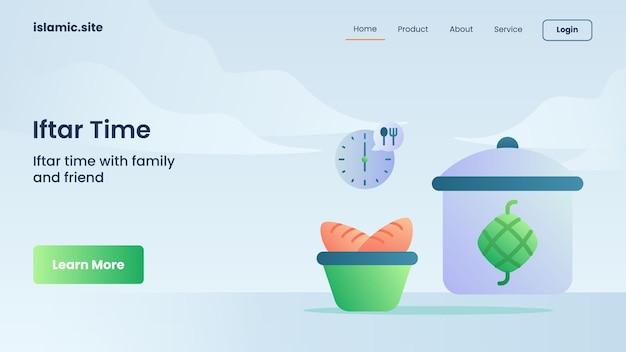 Iftar-tijd voor het landen van de website-sjabloon of het ontwerp van de startpagina