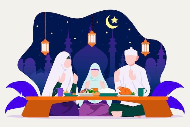 Iftarillustratie met mensen die een maaltijd hebben