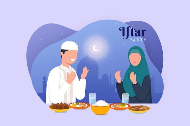 Iftarillustratie met paar dat een maaltijd heeft
