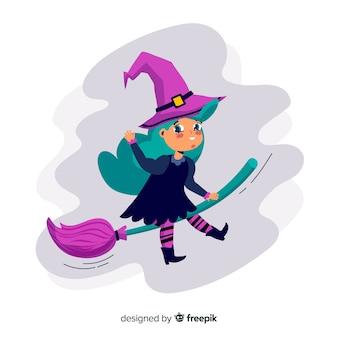 Iillustration van halloween-heks die op bezem vliegt